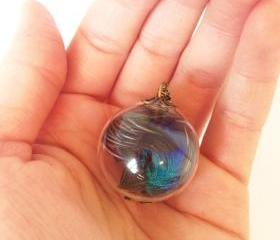 Peacock Feather Glass orb necklace