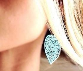Distressed Aqua Filigree Earrings