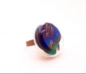 Real Peacock Feather Glass ring